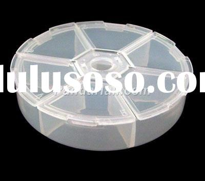 Clear Round Plastic Container With Lid, Jewelry Box, 6 Compartments, 7.8cm in diameter, 1.8cm high(C