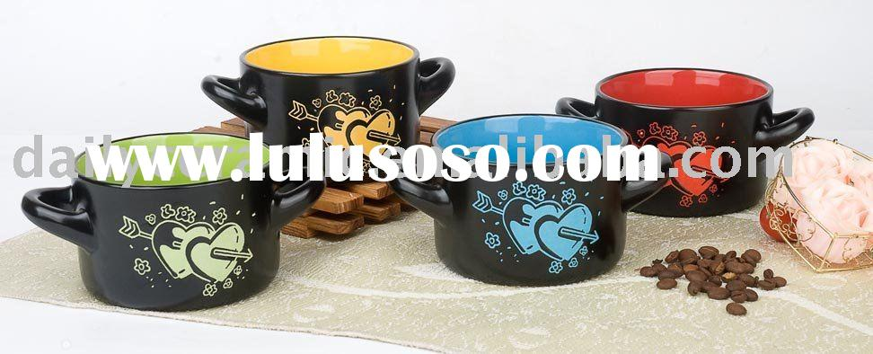 Colorful Ceramic Soup bowl with double handles