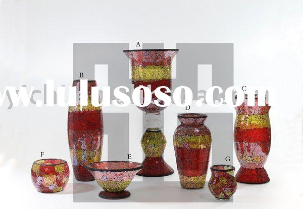 Crackle Glass Mosaic Candle Holders & Glass Vases