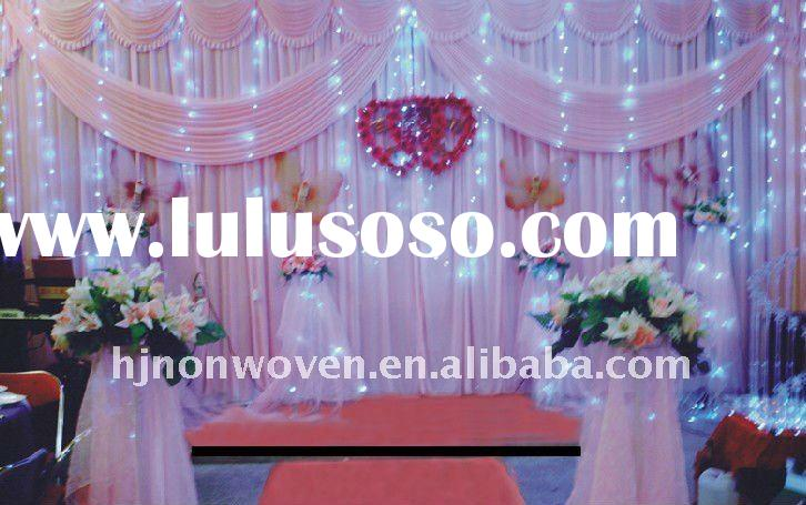 Cute pink snow organza tablecloth and organza door curtain for wedding decoration