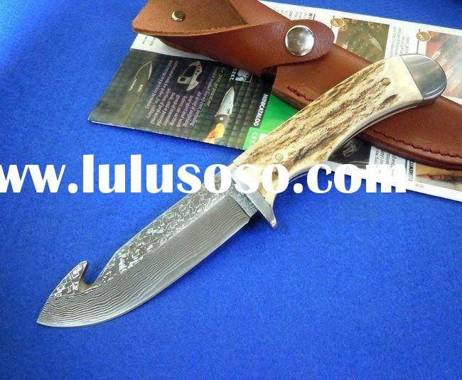 Damascus hunting knife (antlers handle) gift favorite knife direct sell price,FQ-MS-2
