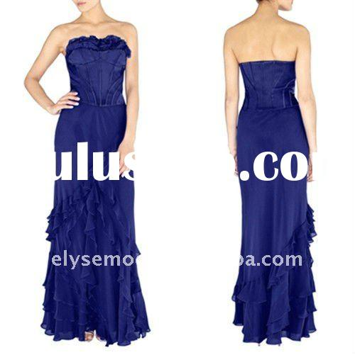 Distinctive Design Royal Blue Chiffon Ruffle Cheap Elegant Dresses Long