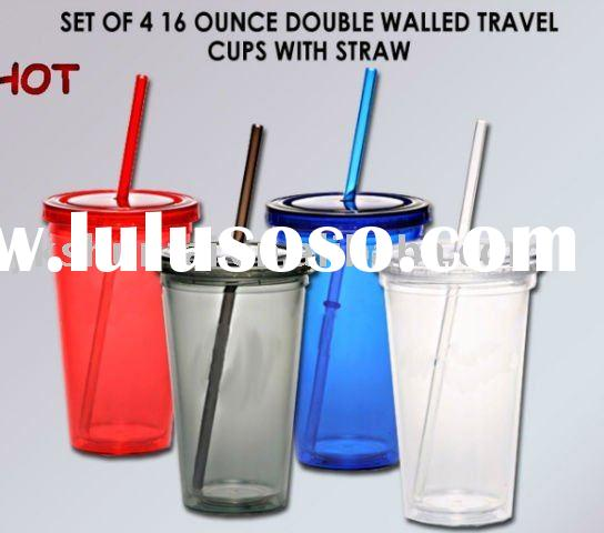 Double Walled Plastic Travel Cup With Straw ST-P110