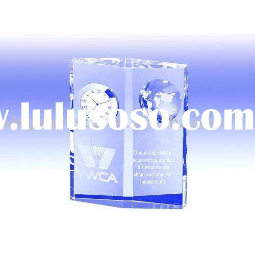 Elegant Crystal Globe Cube Table Clock/ Office Gifts