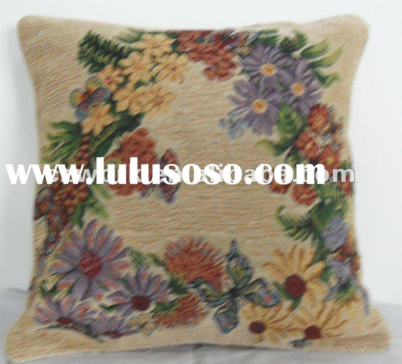 Embroidered pillow cover of Chinese culture flowers with a psychedelic painting
