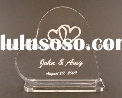 Engraved Heart Acrylic Cake Topper with Stand,Wedding Decoration Favor