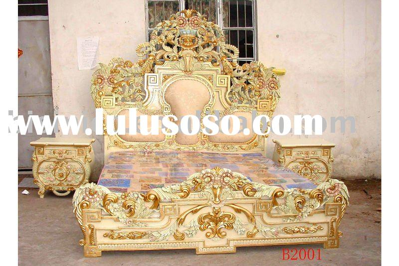 European classical& antique wooden luxury bedroom set, king size bed, dresser, with gold plated,