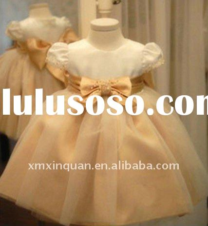 FGR011 Free Shipping satin organza beaded short sleeve little queen flower girl dress for wedding wi