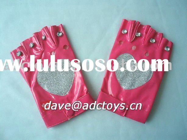Fake Leather Pink Printing Cheap Fashion Ladies Fingerless Gloves With Rhinestone