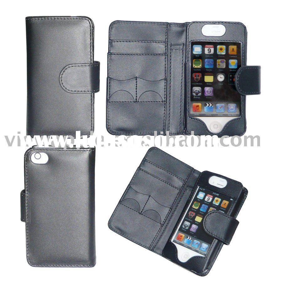 For APPLE iPHONE 4 4G 4-G WALLET LEATHER CASE