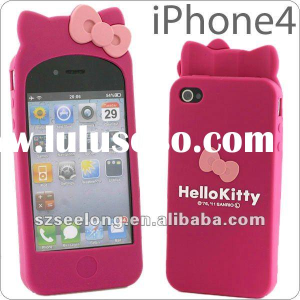 For Apple iPhone 4 4S Hello Kitty Silicone Case (Cartoon Series & Promotinal Gifts Valentine&