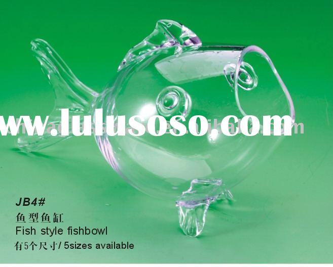 Glass fish bowl, Fish shape, 5 sizes available
