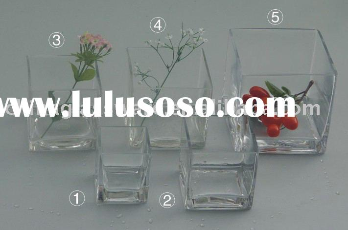 Glass fish bowl or vase, square shape, several sizes available