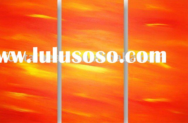 Group Abstract Landscape painting,red,yellow (three panels)
