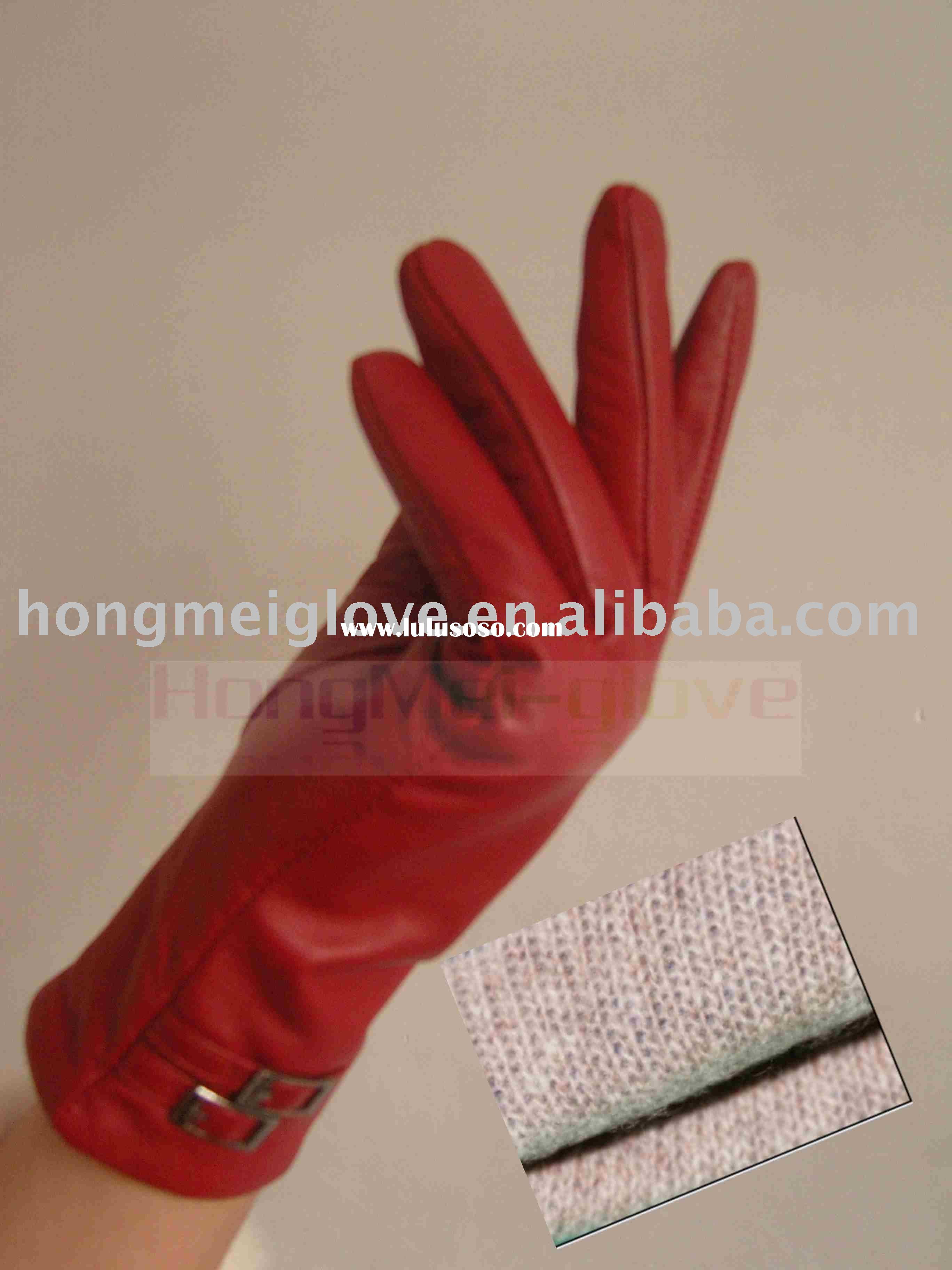 HM033 Ladies fashion leather glove with cashmere lining