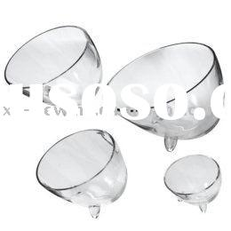 Handmade Clear glass cutting salad bowl with foot