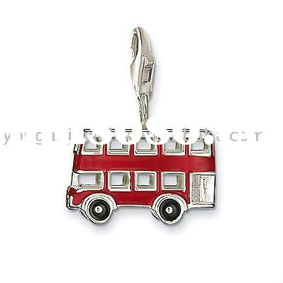 Hot Sale Fashion Silver Jewelry Charm London Bus 0495