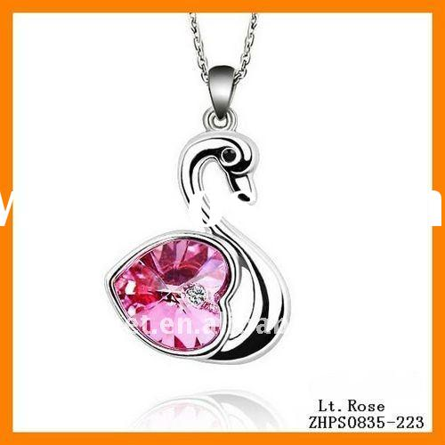 Hot Sale New Style Austrian Crystal Pendant Necklace Swan ZHJA0283A