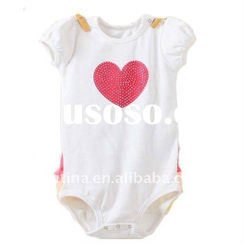 Hot Sale!White w Red Heart Cotton Baby Romper/Baby Bodysuit/rompers for girls