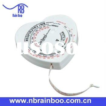 Hot selling top quality Noverty heart shape health BMI tape measure with scales and logo for medical