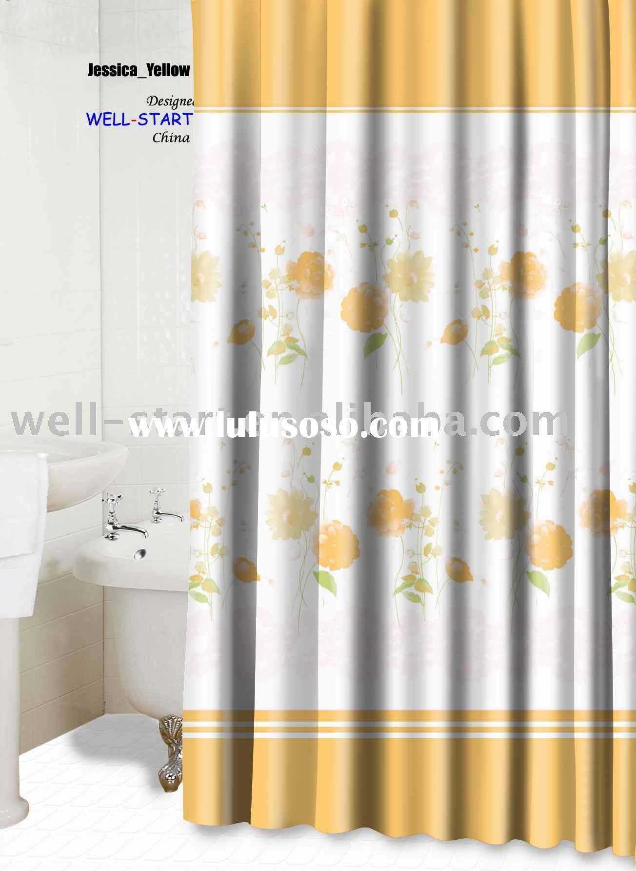 Jessia yellow printed polyester fabric shower curtain