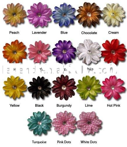 Large Gerber Daisy Flower Hair Clip Bow with Crystal Center for Infant Baby Toddler to Youth Girl- M