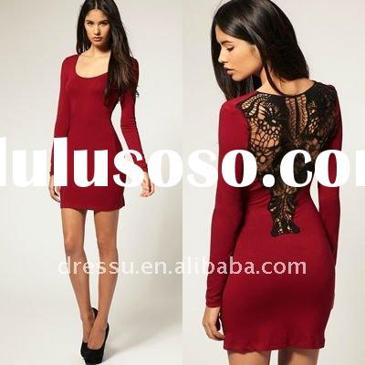 Long Sleeve Crochet Lace Back Women Dresses Fashion