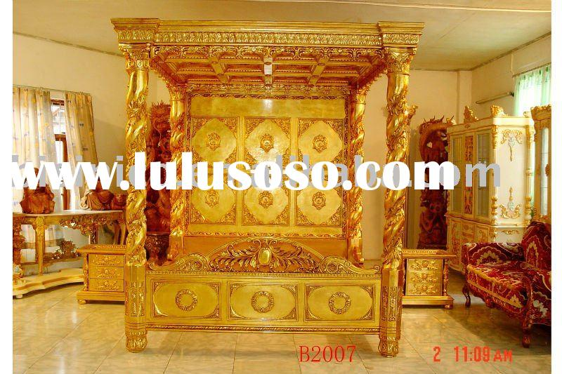 Luxury gold color hand carving wooden bedroom set, canopy king bed,dresser