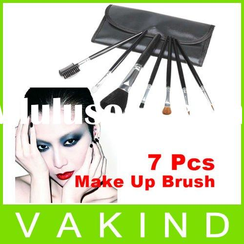 Mini 7 Pcs Professional Cosmetic MakeUp Brush Sets Kit With Black Leather Case