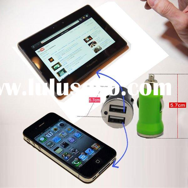 Mini Dual USB Car Charger for P1000 TAB iPad iPhone 4 iPod 2.1A