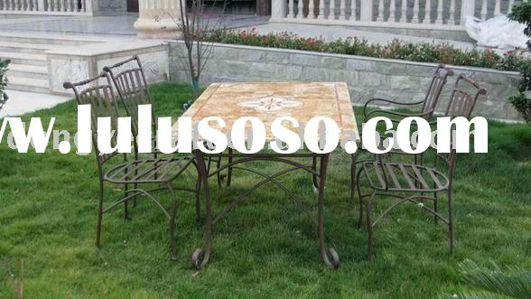 Mosaic marble top dining table set