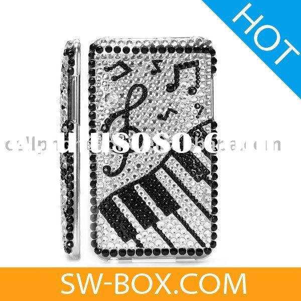 Music Piano Diamond Rhinestone Bling Hard Case for iPod Touch 2 / 3 -for ipod touch case