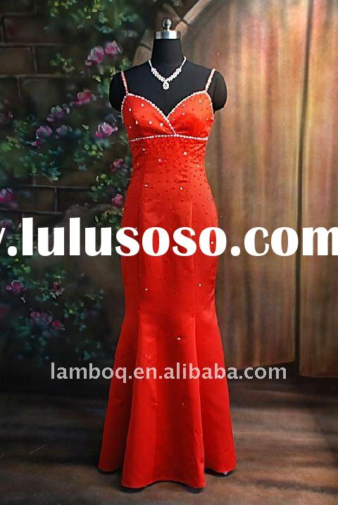 Orange Sequined Full Length Prom Dress With Spaghetti Straps In A Mermaid Style