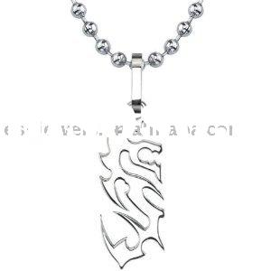 Oriental Charm Designer Inspired Titanium Brushed Finish Dragon Pendant on a Stainless Steel Ball Ch