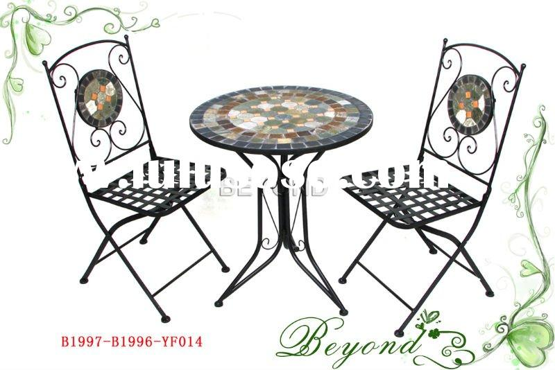 Outdoor patio furniture--bistro set with mosaic stone top