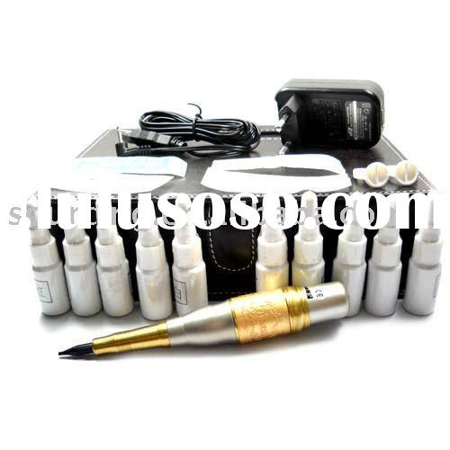 Permanent Tattoo Makeup Kit Power EyeBrow Pen Machine 10 Inks