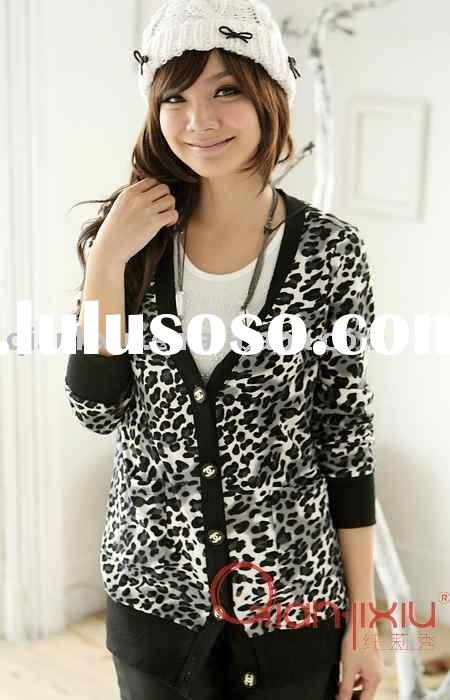 Plus size lady's cardigan sweater,with leopard pattern (Q1853)