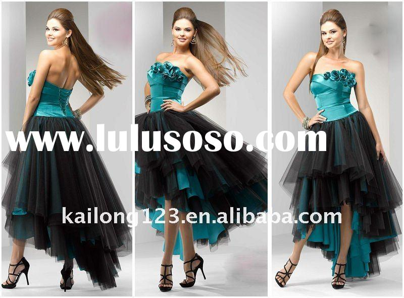 Popular Ball Gown High-Low Tiered Lace Up Back Prom Dress