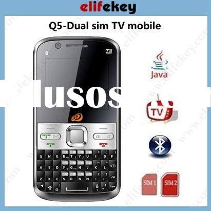 Q5 TV Dual sim cards Quad Band Qwerty Cell is full QWERTY Keyboard cheap mobile phone companies
