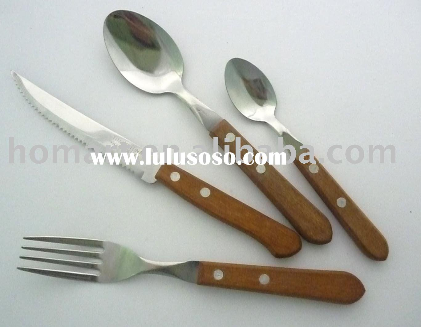 QZ065 Wood handle cutlery and flatware set