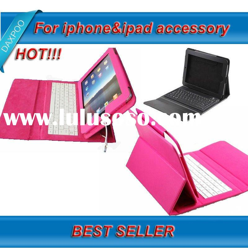 Red/Black Wireless Bluetooth Keyboard with Leather Case for Apple iPad