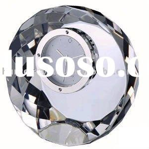 Round Crystal Clock , Crystal Table Clock ,Office Set Gifts