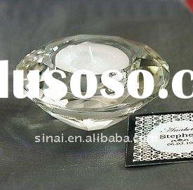 Round Crystal Diamond Tea Light Candle Holder