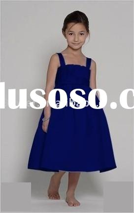 Royal Blue Empire Satin 013 Discount Flower Girl Dresses