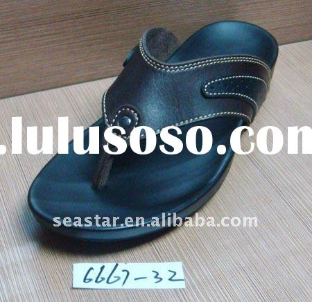 Rubber sole leather boys sandals slippers (6667-32)