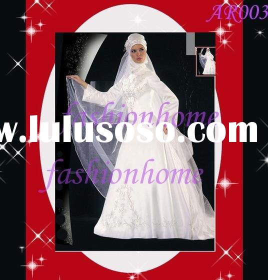 Satin high neckline A line skirt with long sleeves Arabic wedding dress Muslim Islamic bridal gown A