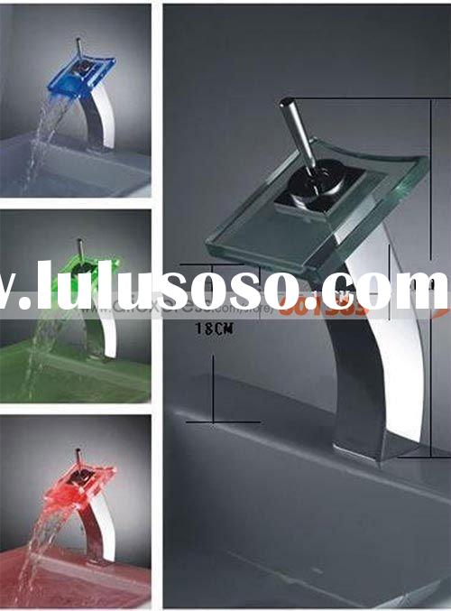 Single Handle Chrome Waterfall LED Bathroom Sink Faucet -Wholesale