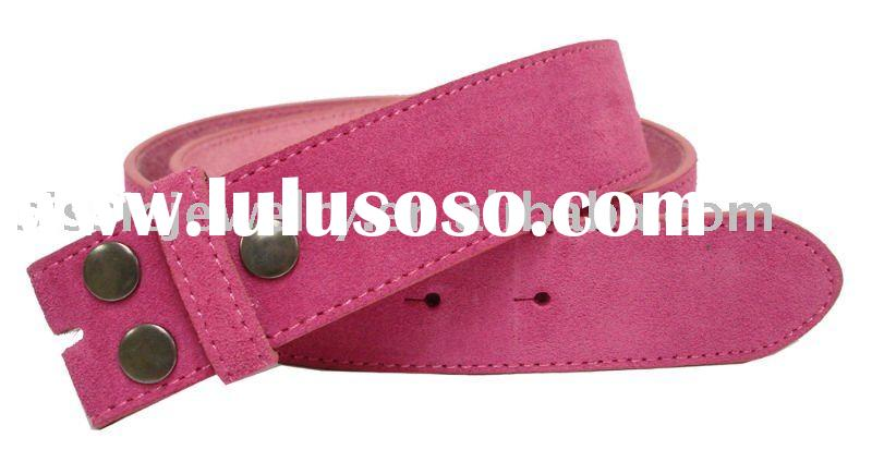"""Snap on Hot Pink Suede Leather Belt Strap 1 1/2"""" Wide"""