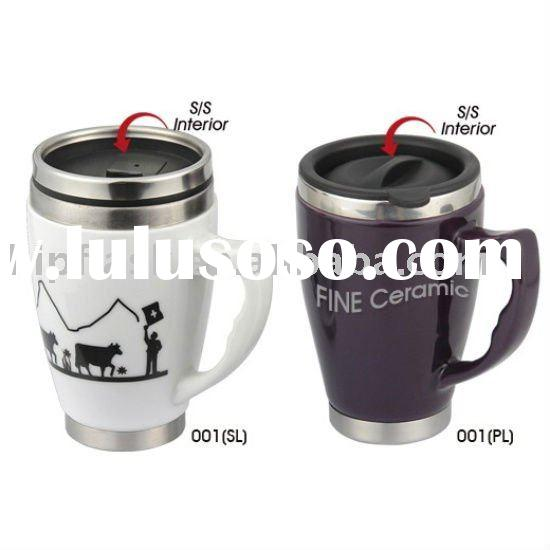 Stainless steel + ceramic mug with lid and handle