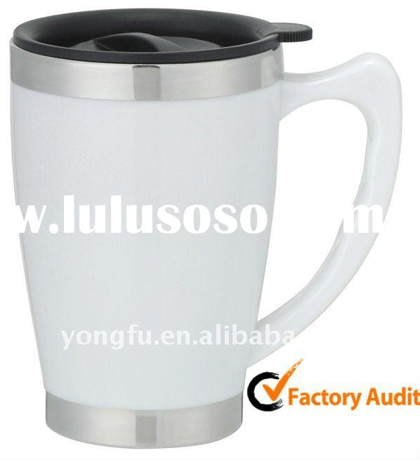 Stainless steel coffee mug with handle